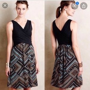 Anthropologie Amadi Grey Turquoise Wrap Top Dress